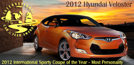 2012 Hyundai Veloster - 2012 International Sporty Coupe of the Year - Most Personality